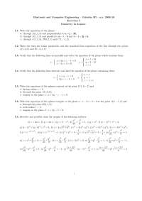Calculus III - Prof. Ferrarotti - a.y. 2009/10 - Exercises I - Geometry in 3-space