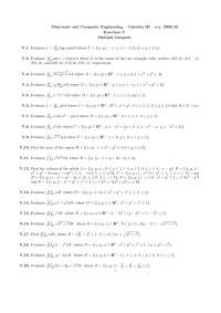 Calculus III - Prof. Ferrarotti - a.y. 2009/10 - Exercises V - Multiple Integrals