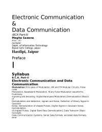 Electronic Communication and Data Communication, Lecture notes, VIPIN