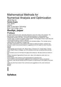 Mathematical Methods for Numerical Analysis and Optimization - BCA POONAM