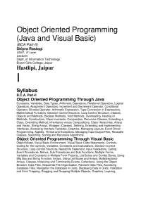 Object Oriented Programming - JAVA and VISUAL BASIC, lecture notes, A. SINGH