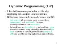 Algorithm analysis Design and Microprocessor - DynamicProgramming