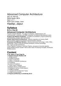 Advanced Computer Architecture, Lecture notes, Newar