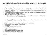 Mobile Computing - Wireless Mobile Clustering