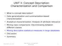 Data Minining - Mining descriptive statistical measures