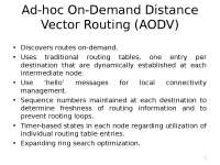 Mobile Computing - Ad - hoc On - Demand Distance Vector Routing (AODV) -