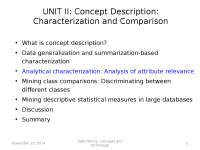 Data Minining - Analytical characterization