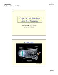 Origin of Elements, Lecture Notes - Chemistry