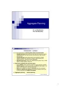 Aggregate Planning - Lecture - Supply Chain Planning and Management - Dr. Luc Muyldermans,