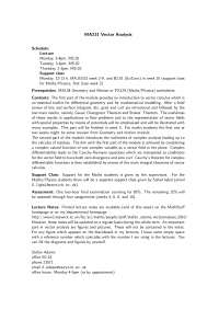 Vector Analysis, Handout- Mathematics -