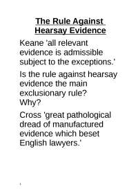 Law of Evidence - Lecture - Hearsay evidence