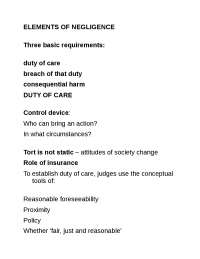 Law of Torts - Lecture - Duty of Care 2009-10