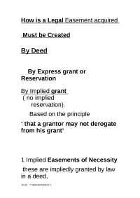 Land Law - Lecture - Legal Easements