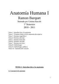 Anatomía Humana I, 1º Semestre (Grado) Ramon Barquet
