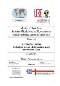 Diritto Amministrativo, dispensa - Il Federalismo