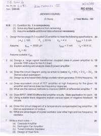 Test Paper - Electronic Devices and Circuits -II - Mumbai University - Engineering in  Electronics and Telecommunication - 4th Semster-2008