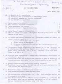 Test Paper - Electromagnetic Engineering - Mumbai University - Electronics Engineering - 5th Semster- 2010