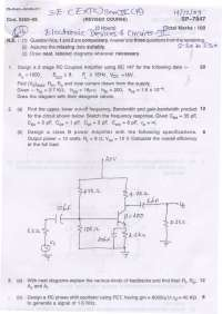 Test Paper - Electronic Devices and Circuits - II - Mumbai University - Electronics and Telecommunication Engineering - 4th Sem. - 2009
