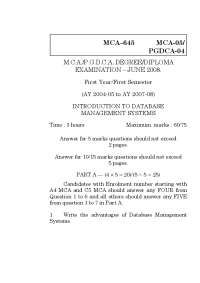 Test Paper - INTRODUCTION TO DBMS - Tamil Nadu Open University - Masters in Computer Application - 1st Year - 2008