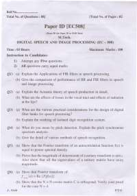Test Paper  - Digital Speech and  Image Processing - Master in Technology -  Electronics and Communication Engineering