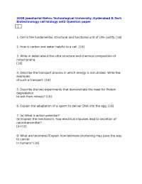 Test Paper - Cell Biology - Jawaharlal Nehru Technological University - Biotechnology Engineering - 2008