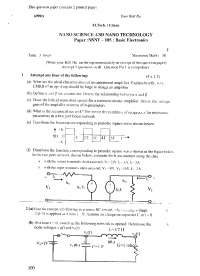 Test Paper - Nano science and Nano Technology -  Delhi University -  Master in Technology - First Semester