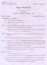 Test Paper - Metal Casting - Punjab Technical University - Production Engineering