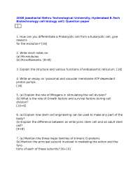 Test Paper - Cell Biology - Jawaharlal Nehru Technological University - Biotechnology - 2008