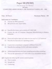 Test Paper - Computer Aided Design and Manufacturing - Punjab Technical University - Production Engineering