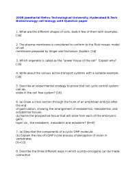 Test Paper - Cell Biology -Jawaharlal Nehru Technological University - Biotechnology Engineering
