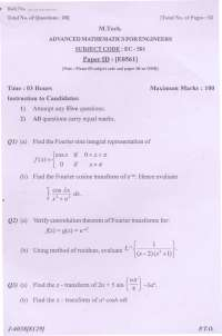 Test Paper - Advanced Mathematics for Engineers - Punjab Technical University - Electronics and Communication -1st semester