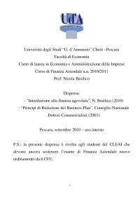Finanza Aziendale, dispensa - Introduzione alla finanza agevolata - Principi di redazione del Business Plan - 2010/2011