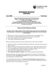 Engineering Mechanics - Exam 2000 - Mechanical Engineering