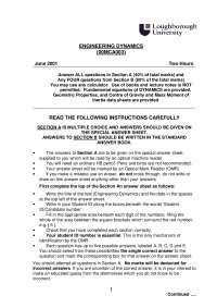 Engineering Mechanics - Exam 2001 - Mechanical Engineering
