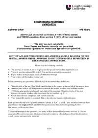 Engineering Mechanics - Exam 1999 - Mechanical Engineering