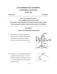 Engineering Mechanics - Exam 1997 - Mechanical Engineering