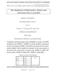 Mechanics Gravity and Relativity - Exam 2011 - Pyhsics and AstroPhysics