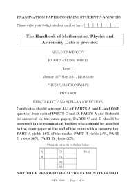 Electricity and Stellar Structure - Exam 2011 - Pyhsics and AstroPhysics
