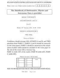 Nature of Matter - Exam 2011 - Pyhsics and AstroPhysics
