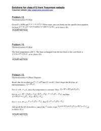 Thermodynamics - ProblemSet 1 Solution - Physics