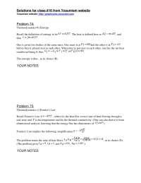 Thermodynamics - ProblemSet 2 Solution - Physics