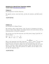 Electricity and Magnetism - ProblemSet 1 Solution - Physics