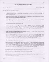 Entrance Paper - Aerospace Engineering (AE) - Graduate Aptitude Test in Engineering (GATE) - 2009