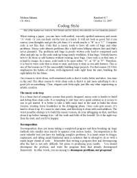 Coding Style - Section Handout assignment - Programming Methodology- 17