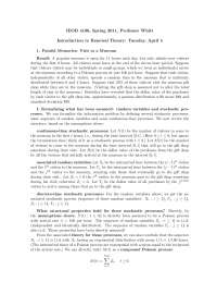 Markov Chains Introduction to Renewal Theory, Lecture Notes - Mathematics