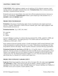 Production, Lecture Notes - Managerial Economics