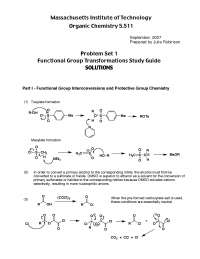 Functional Group Transformations Study Guide, Exercises Solution - Organic Chemistry