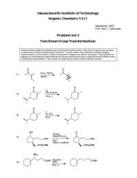 Functional Group Transformations, Exercises Solution - Organic Chemistry
