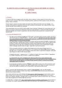 Il Diritto di Famiglia in Italia dalle Riforme ai Codici