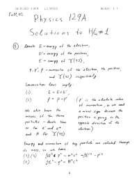 Particle Physics 1, Exercises Solution- Physics